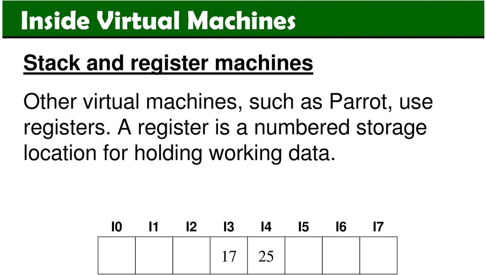 A register is a numbered storage location
