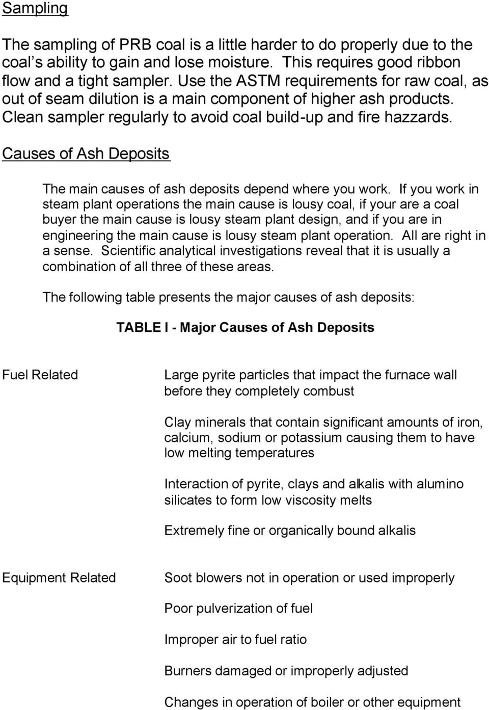 Causes of Ash Deposits The main causes of ash deposits depend where you work.