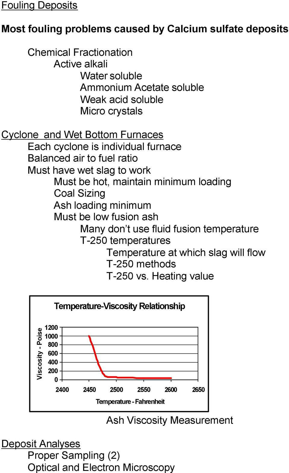 minimum Must be low fusion ash Many don t use fluid fusion temperature T-250 temperatures Temperature at which slag will flow T-250 methods T-250 vs.