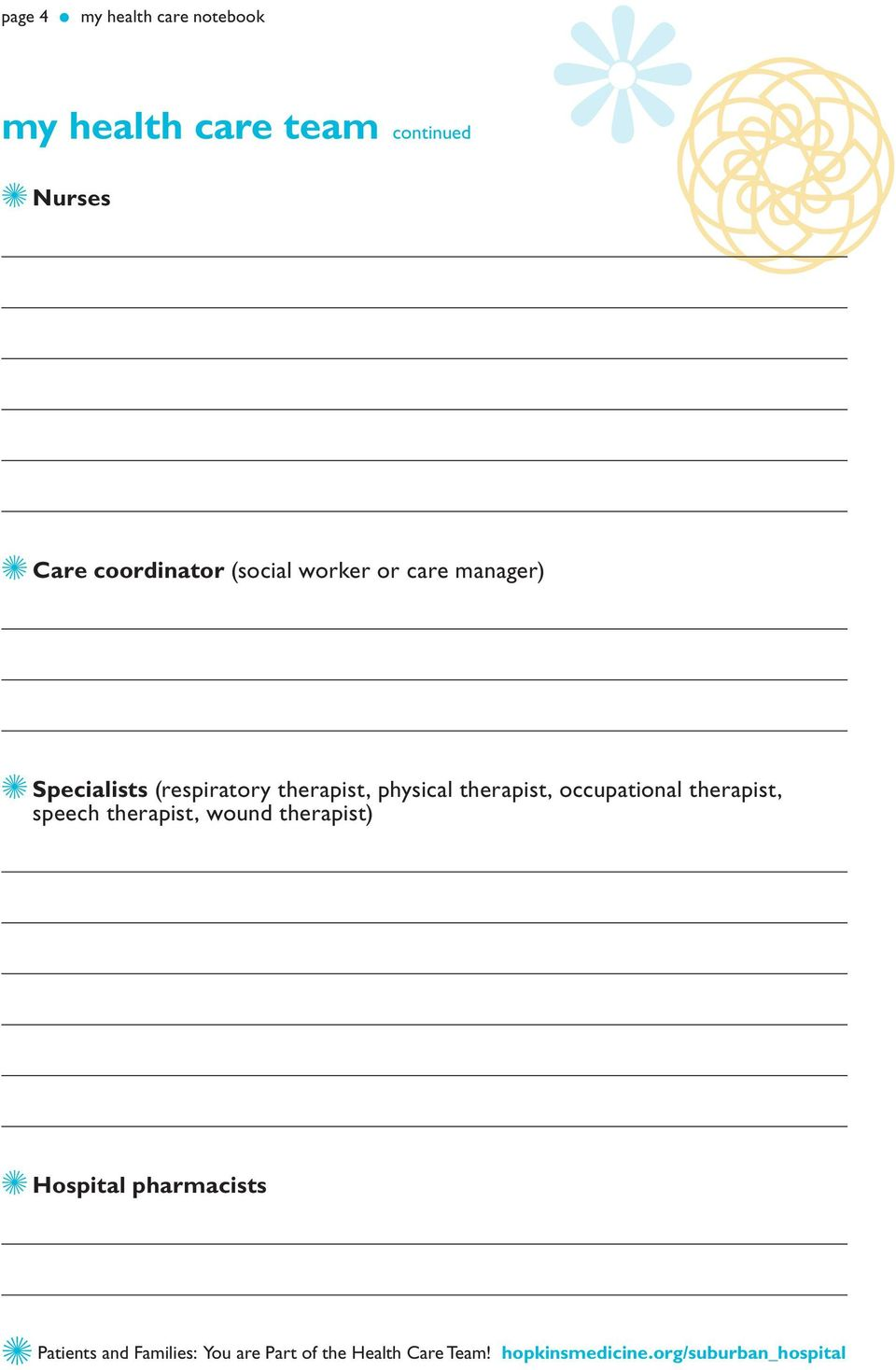 therapist, occupational therapist, speech therapist, wound therapist) Z Hospital