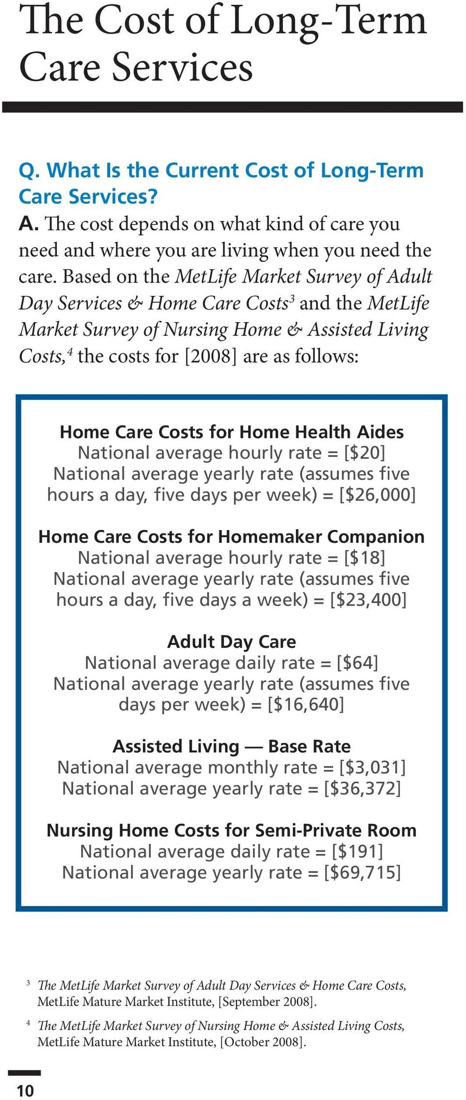 Costs for Home Health Aides National average hourly rate = [$20] National average yearly rate (assumes five hours a day, five days per week) = [$26,000] Home Care Costs for Homemaker Companion