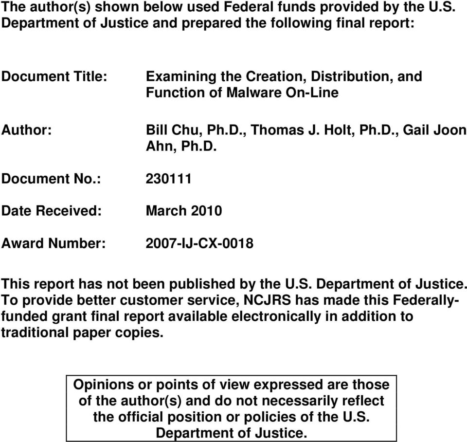 Holt, Ph.D., Gail Joon Ahn, Ph.D. Document No.: 230111 Date Received: March 2010 Award Number: 2007-IJ-CX-0018 This report has not been published by the U.S. Department of Justice.