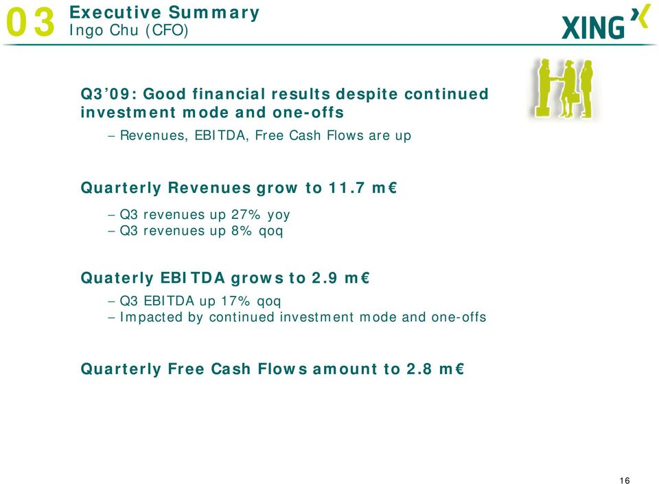 7 m Q3 revenues up 27% yoy Q3 revenues up 8% qoq Quaterly EBITDA grows to 2.