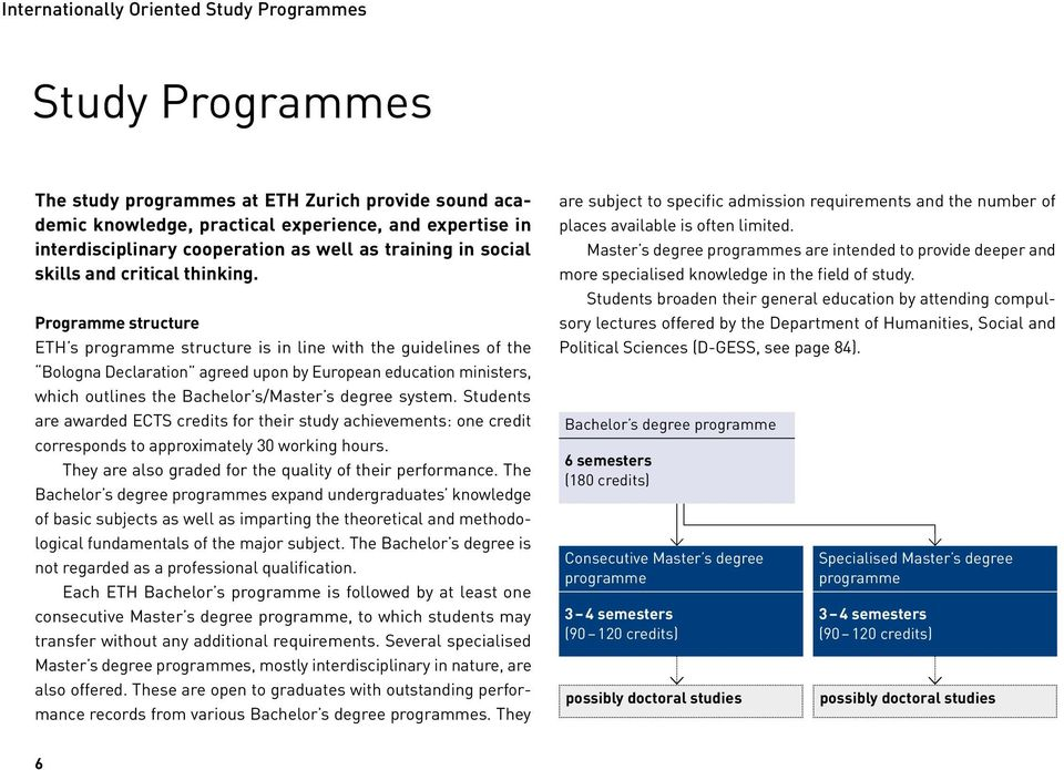 Programme structure ETH s programme structure is in line with the guidelines of the Bologna Declaration agreed upon by European education ministers, which outlines the Bachelor s/master s degree
