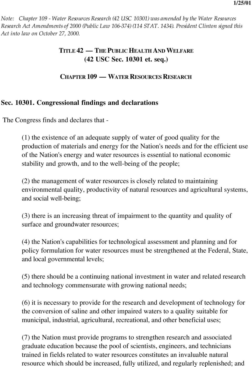 et. seq.) CHAPTER 109 WATER RESOURCES RESEARCH Sec. 10301.