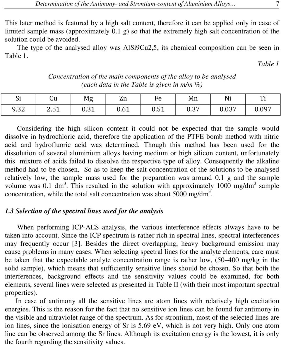 Table 1 Concentration of the main components of the alloy to be analysed (each data in the Table is given in m/m %) Si Cu Mg Zn Fe Mn Ni Ti 9.32 2.51 0.31 0.61 0.51 0.37 0.037 0.