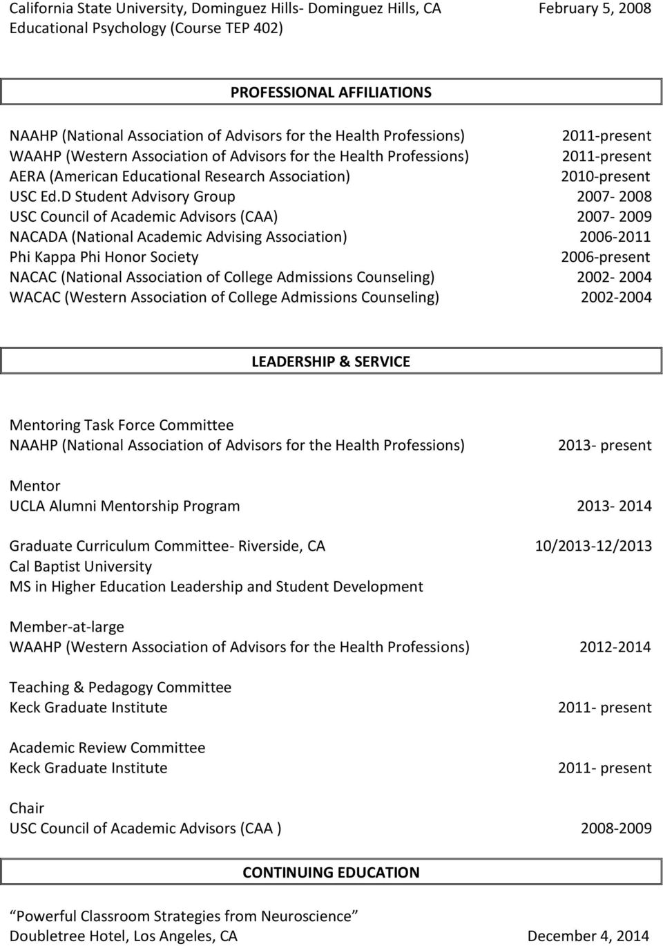 D Student Advisory Group 2007-2008 USC Council of Academic Advisors (CAA) 2007-2009 NACADA (National Academic Advising Association) 2006-2011 Phi Kappa Phi Honor Society 2006-present NACAC (National