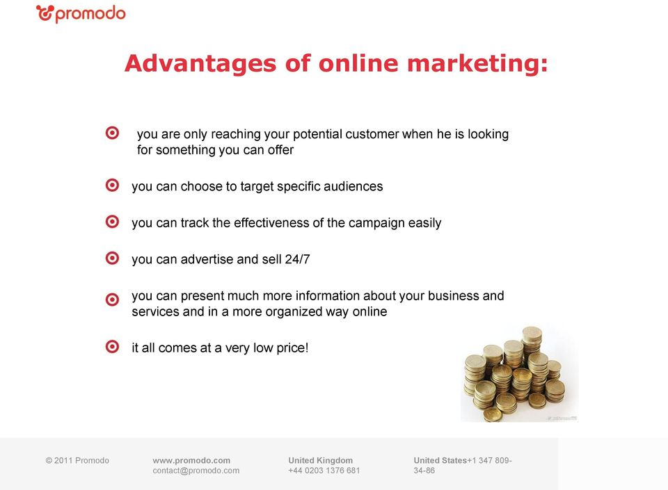 the campaign easily you can advertise and sell 24/7 you can present much more information about your