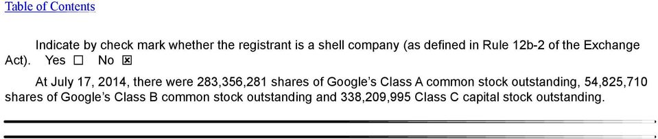 Yes No At July 17, 2014, there were 283,356,281 shares of Google s Class A common