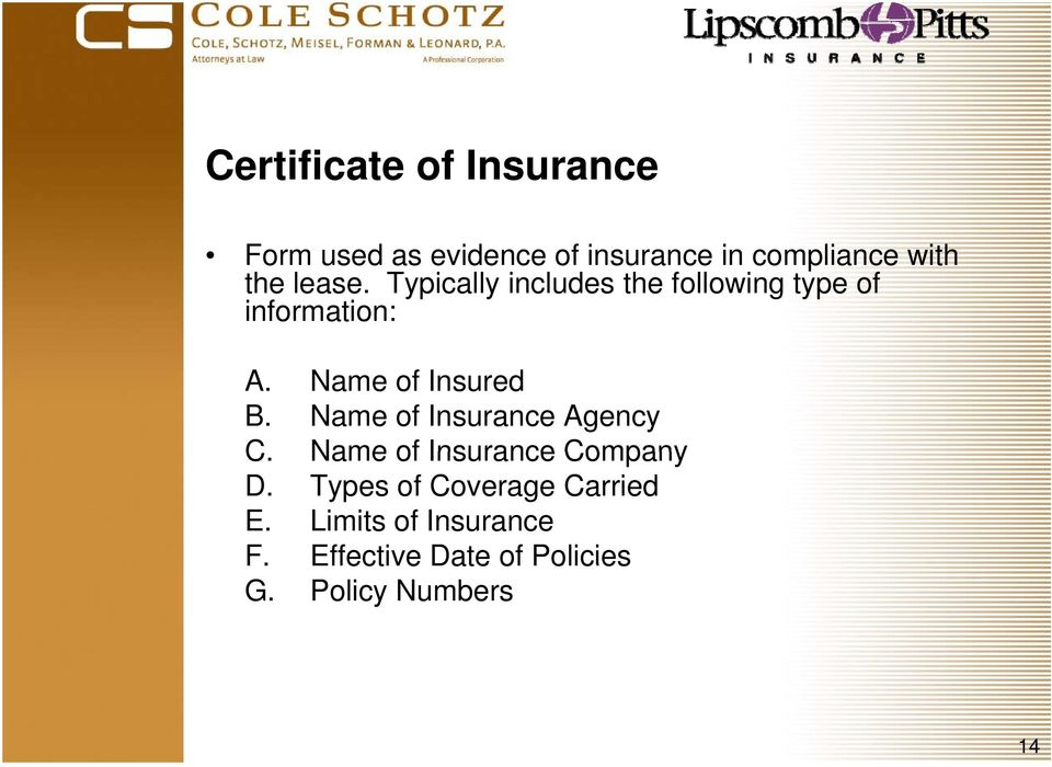 Name of Insured B. Name of Insurance Agency C. Name of Insurance Company D.