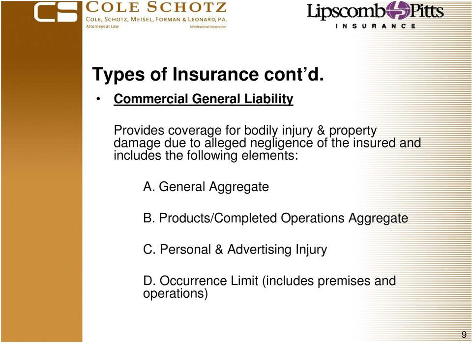 due to alleged negligence of the insured and includes the following elements: A.
