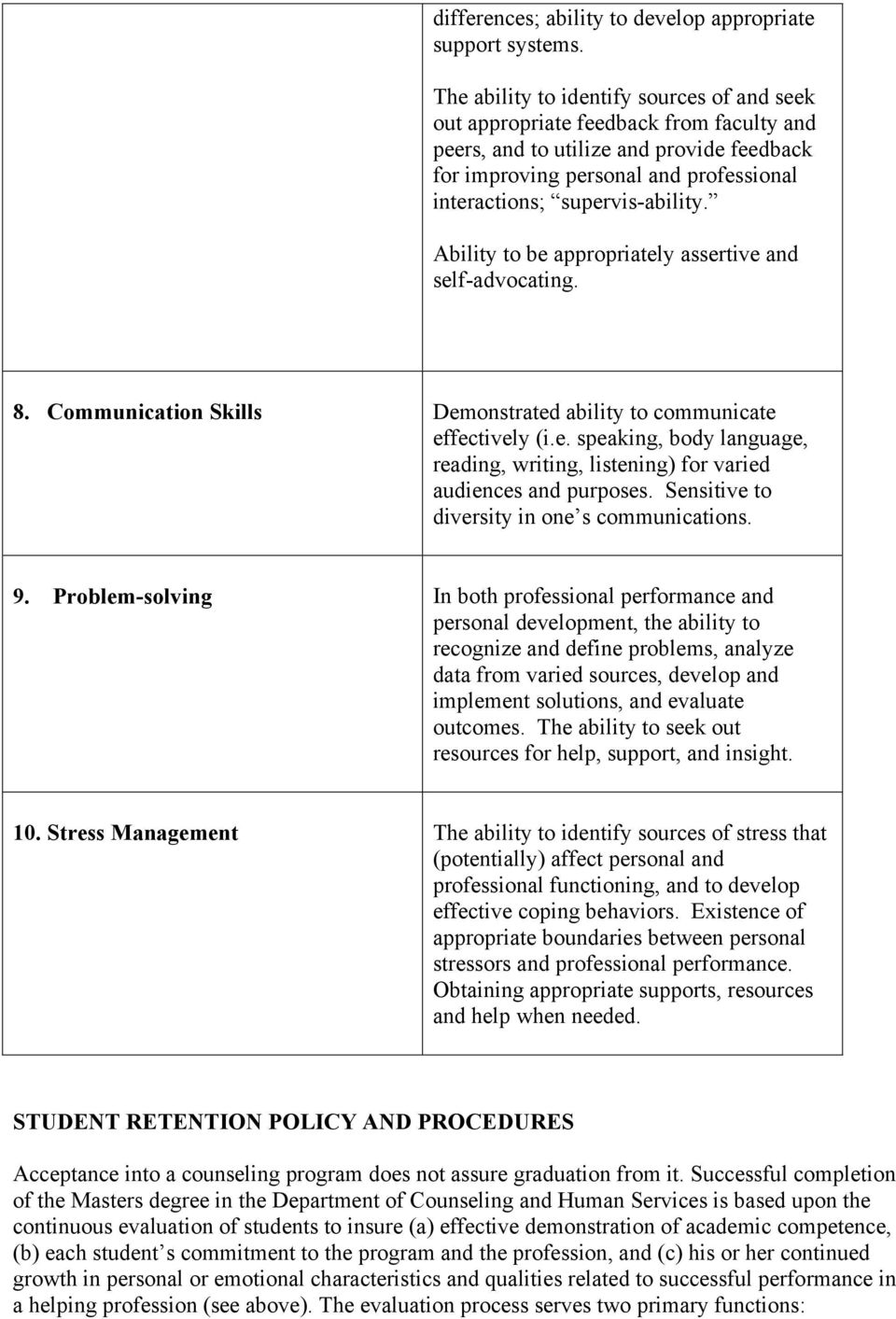 Ability to be appropriately assertive and self-advocating. 8. Communication Skills Demonstrated ability to communicate effectively (i.e. speaking, body language, reading, writing, listening) for varied audiences and purposes.