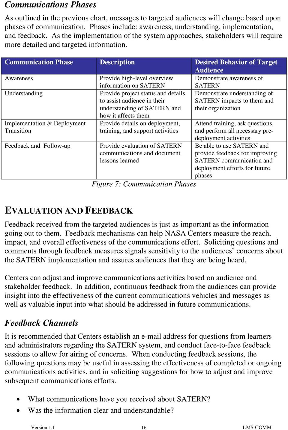 Communication Phase Description Desired Behavior of Target Audience Awareness Provide high-level overview information on SATERN Demonstrate awareness of SATERN Understanding Provide project status