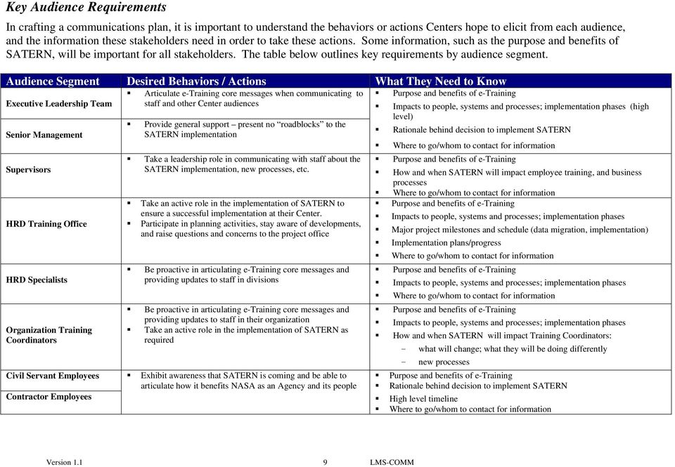 The table below outlines key requirements by audience segment.