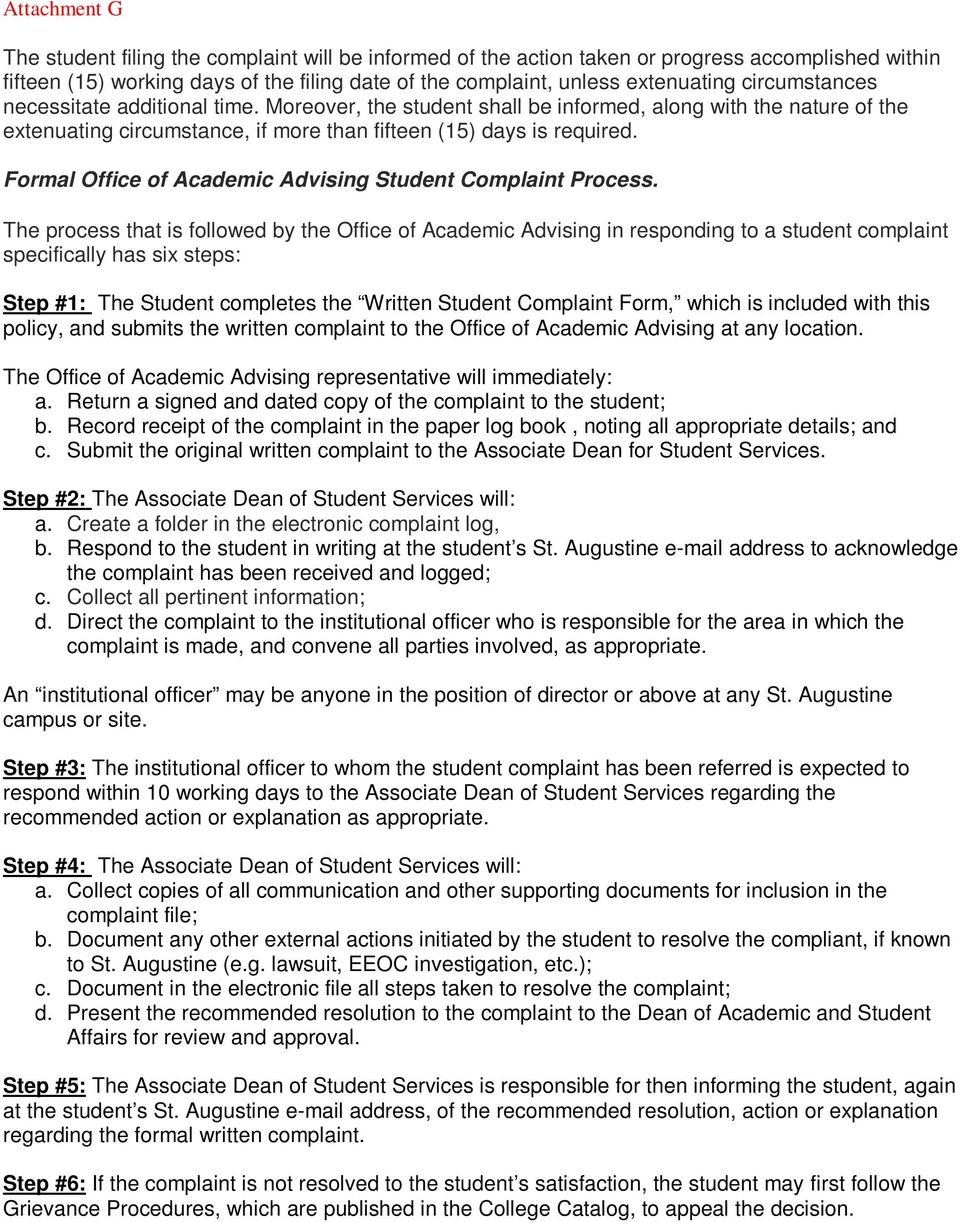 Formal Office of Academic Advising Student Complaint Process.