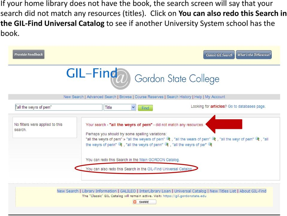 Click on You can also redo this Search in the GIL-Find