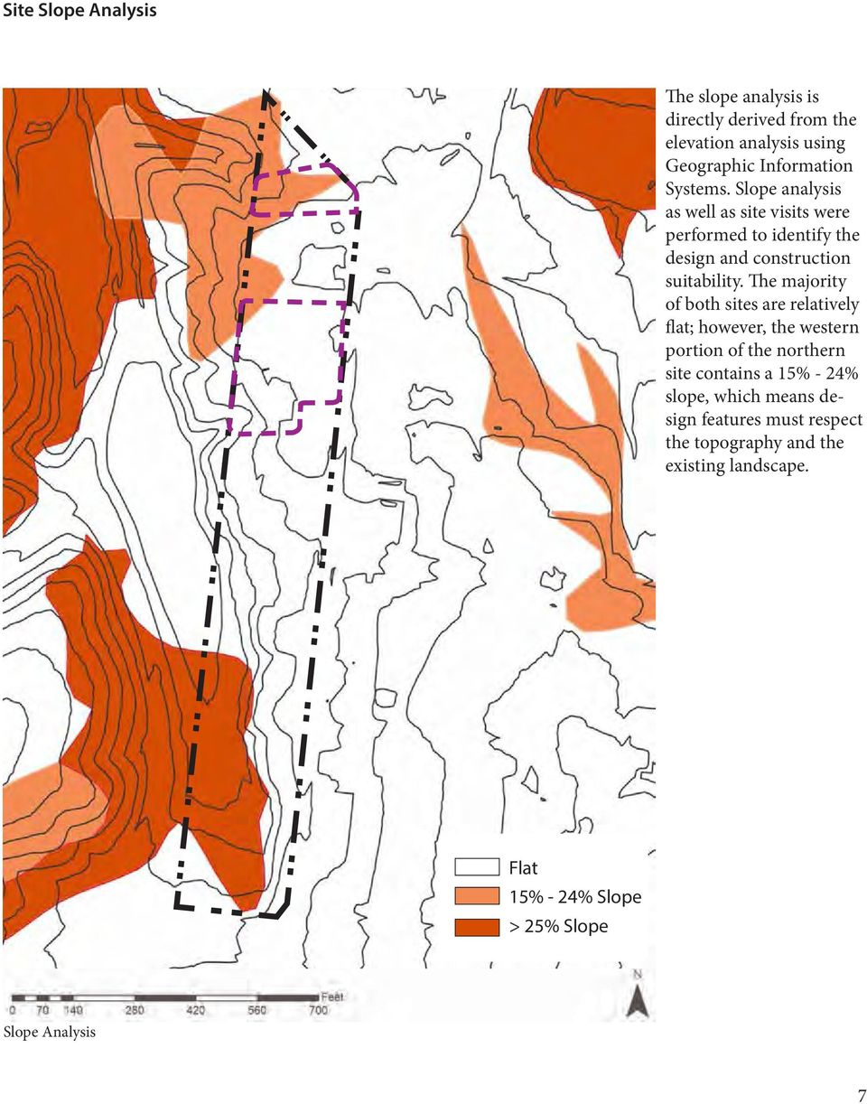 The majority of both sites are relatively flat; however, the western portion of the northern site contains a 15% - 24%