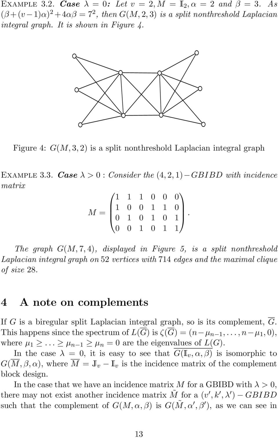 0 0 1 0 1 1 The graph G(M, 7, 4), displayed in Figure 5, is a split nonthreshold Laplacian integral graph on 52 vertices with 714 edges and the maximal clique of size 28.