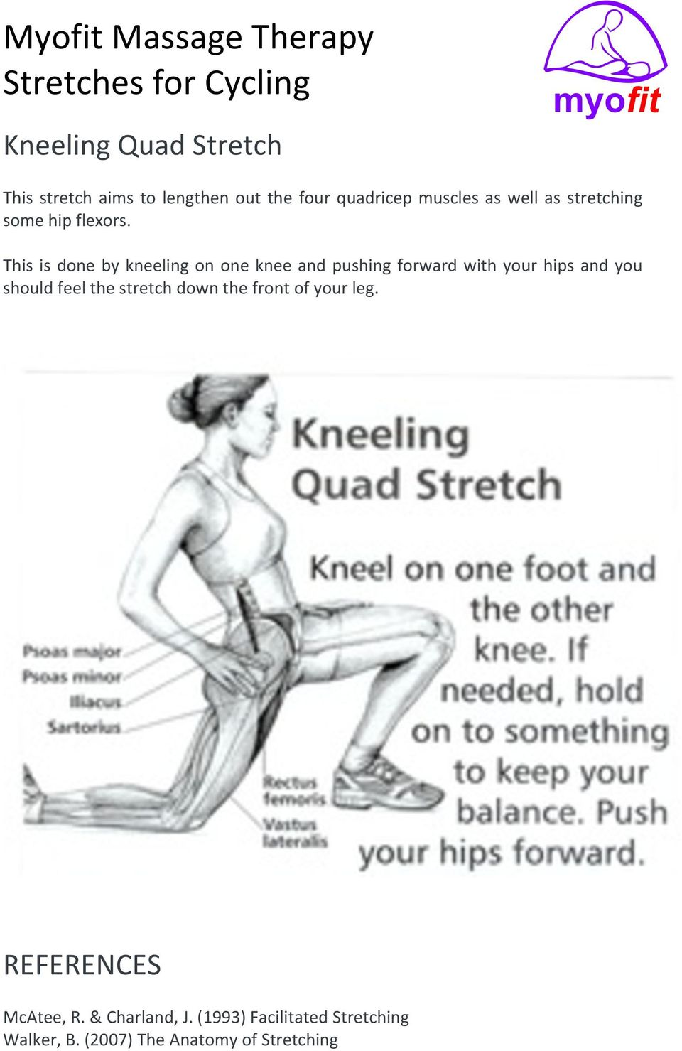 This is done by kneeling on one knee and pushing forward with your hips and you should feel