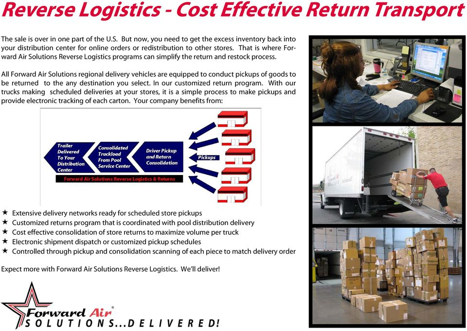 That is where Forward Air Solutions Reverse Logistics programs can simplify the return and restock process.