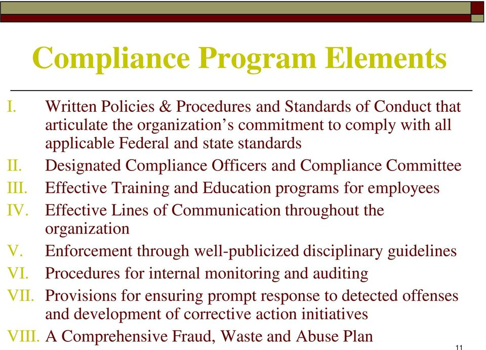 Designated Compliance Officers and Compliance Committee III. Effective Training and Education programs for employees IV.