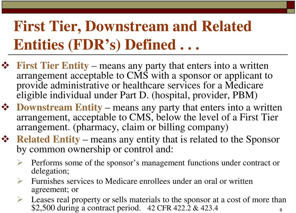 individual under Part D. (hospital, provider, PBM) Downstream Entity means any party that enters into a written arrangement, acceptable to CMS, below the level of a First Tier arrangement.
