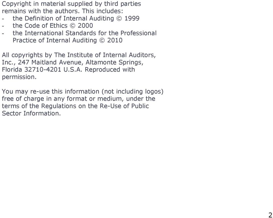 Practice of Internal Auditing 2010 All copyrights by The Institute of Internal Auditors, Inc.