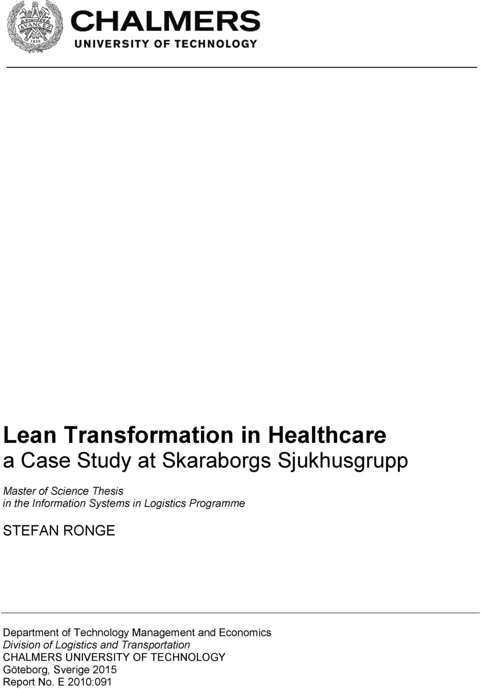 lean logistics management in healthcare a case study