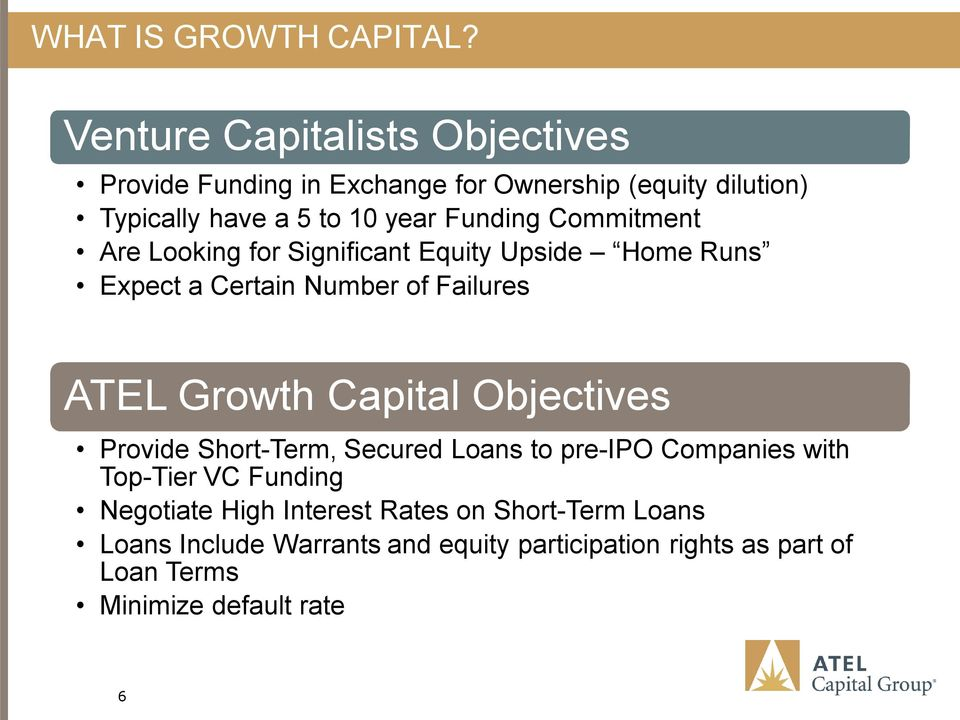 Commitment Are Looking for Significant Equity Upside Home Runs Expect a Certain Number of Failures ATEL Growth Capital