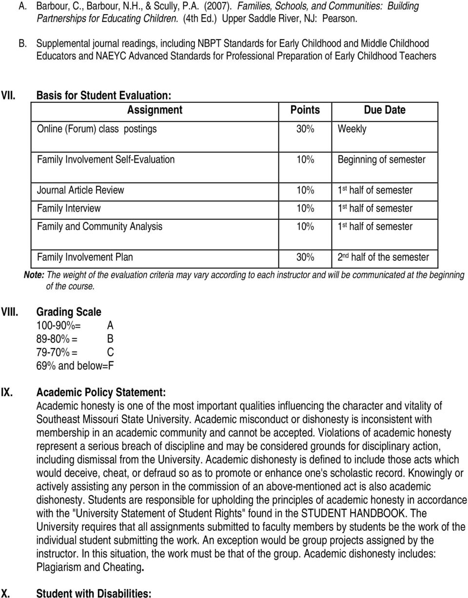 Basis for Student Evaluation: Assignment Points Due Date Online (Forum) class postings 30% Weekly Family Involvement Self-Evaluation 10% Beginning of semester Journal Article Review 10% 1 st half of