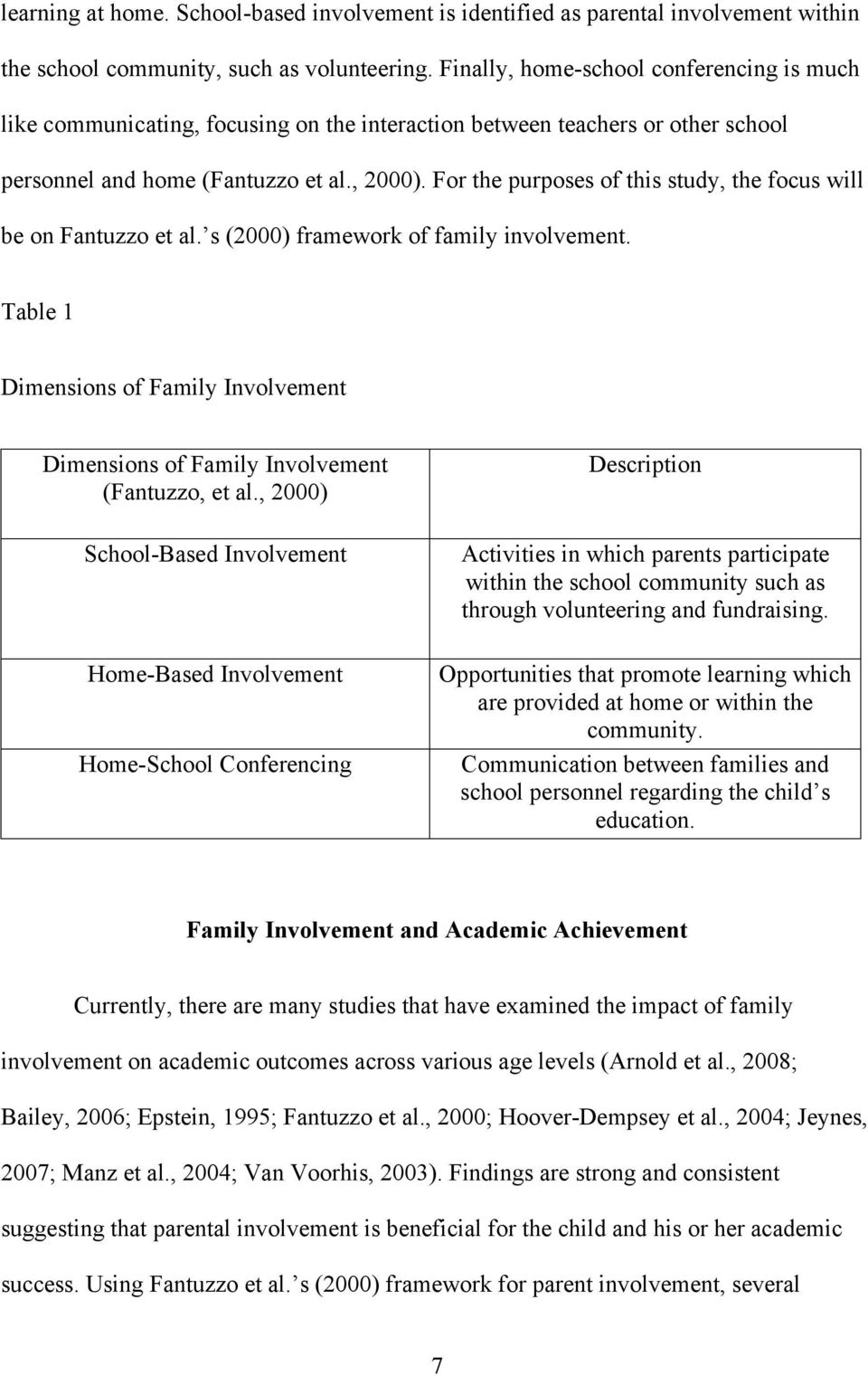 For the purposes of this study, the focus will be on Fantuzzo et al. s (2000) framework of family involvement.