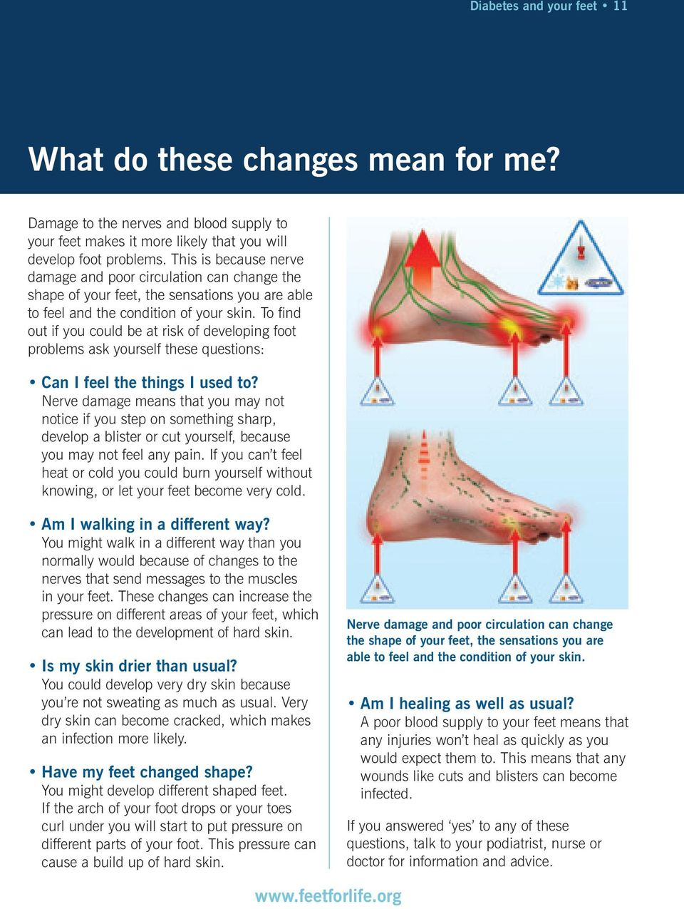 To find out if you could be at risk of developing foot problems ask yourself these questions: Can I feel the things I used to?