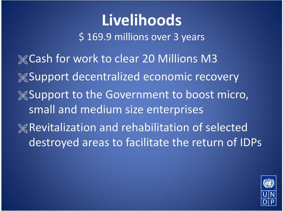 decentralized economic recovery Support to the Government to boost