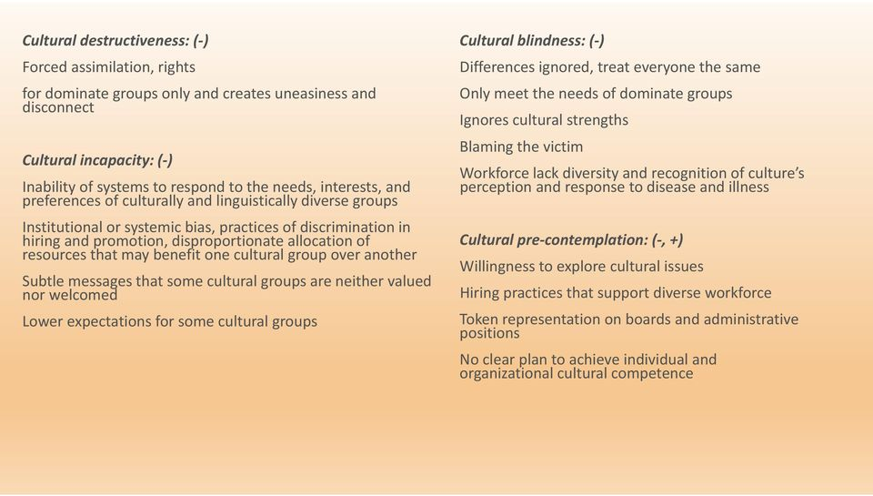 resources that may benefit one cultural group over another Subtle messages that some cultural groups are neither valued nor welcomed Lower expectations for some cultural groups Cultural blindness: (