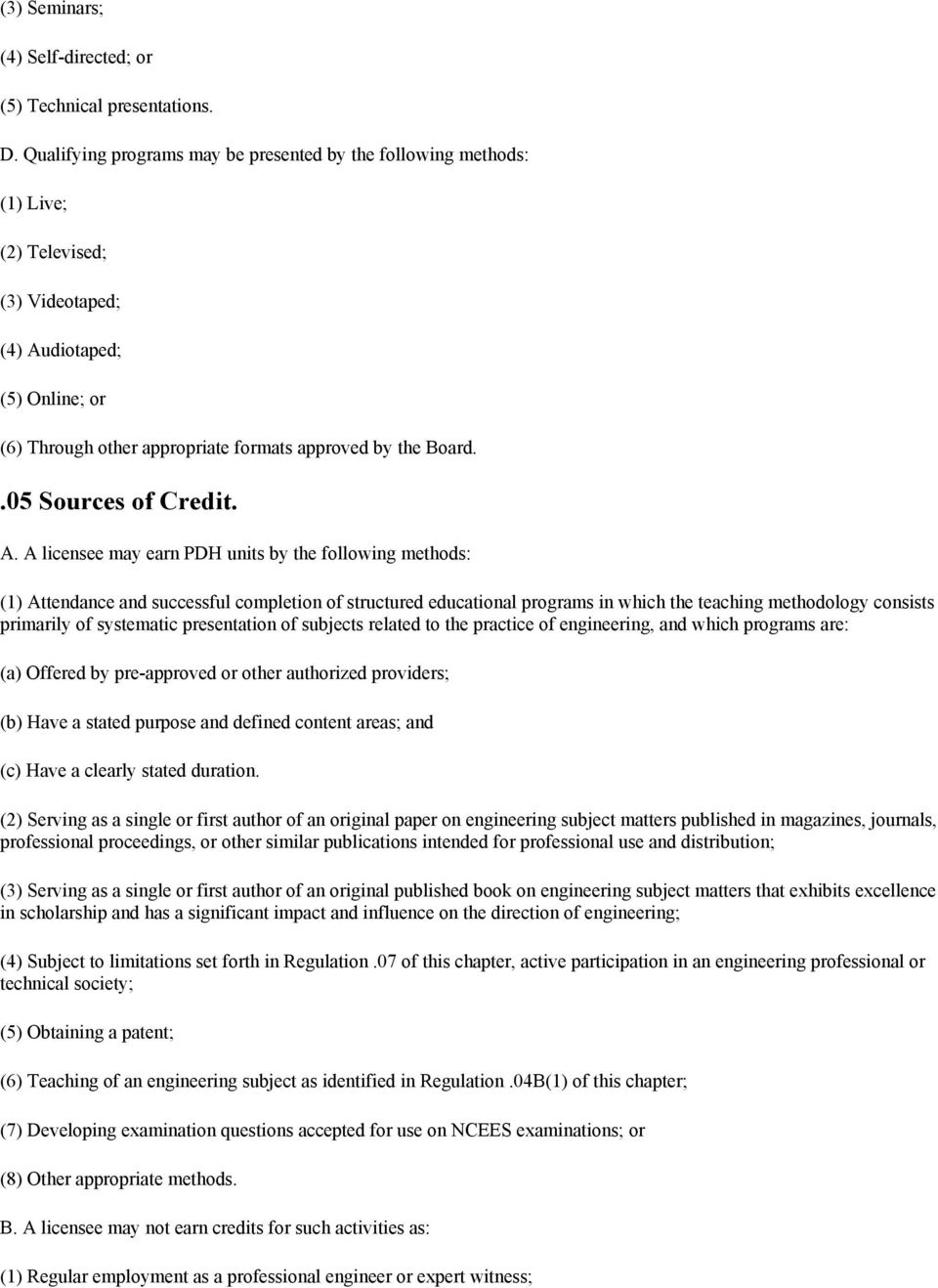 .05 Sources of Credit. A.