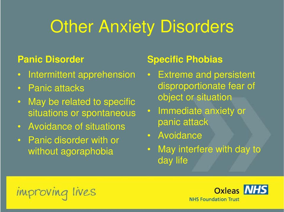 or without agoraphobia Specific Phobias Extreme and persistent disproportionate fear of