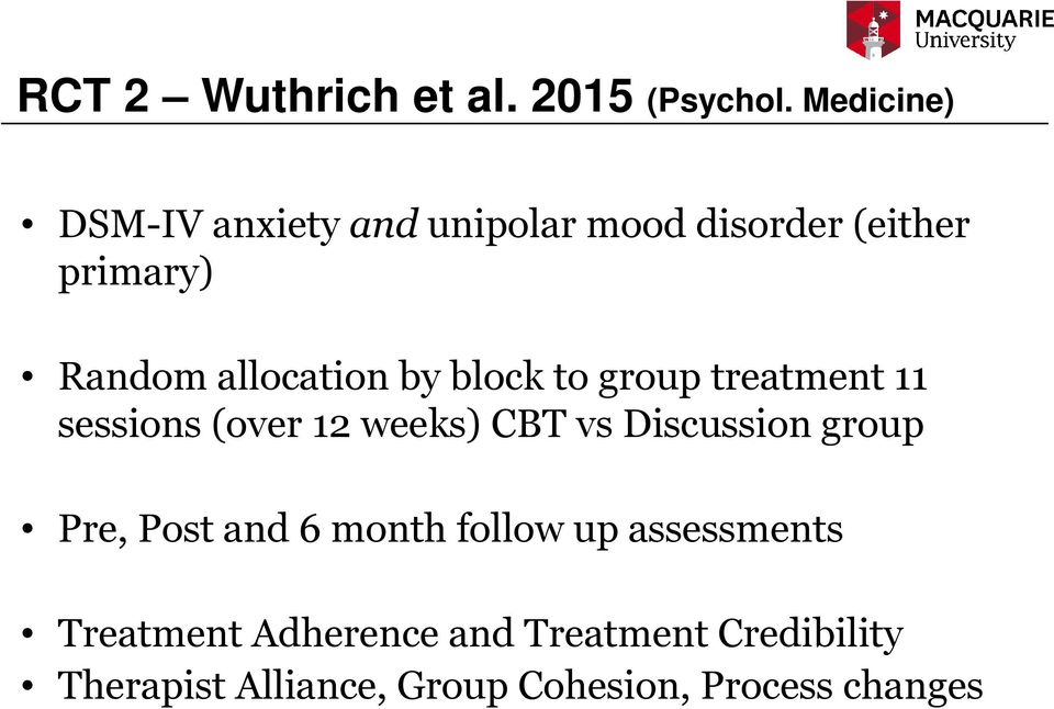 by block to group treatment 11 sessions (over 12 weeks) CBT vs Discussion group Pre,