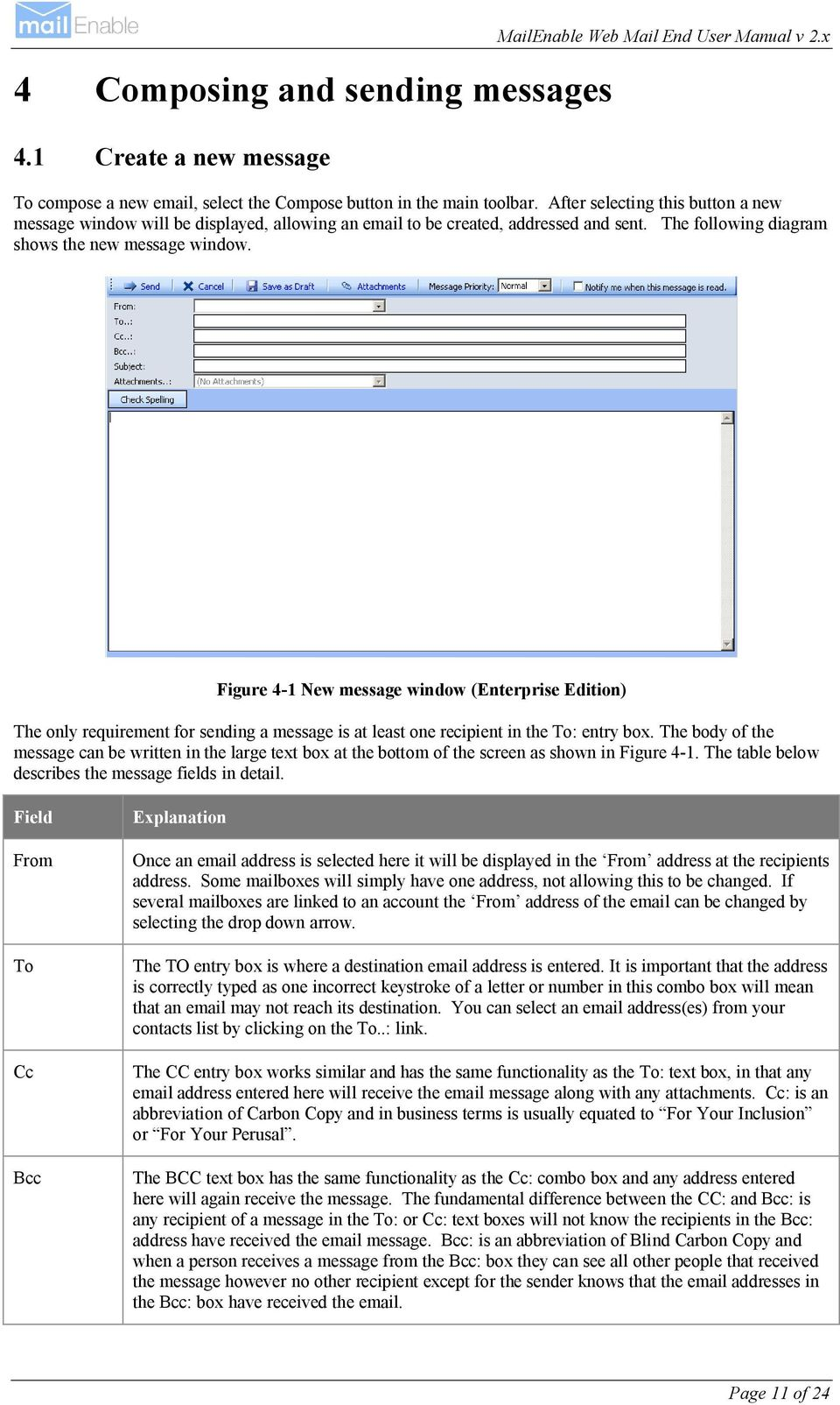 Figure 4-1 New message window (Enterprise Edition) The only requirement for sending a message is at least one recipient in the To: entry box.