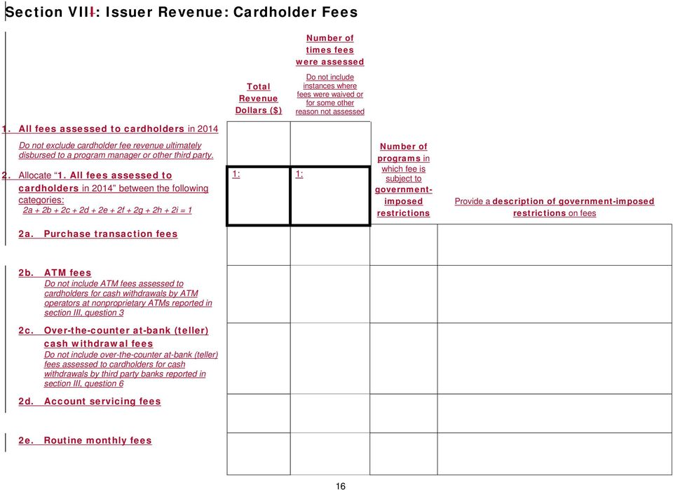 All fees assessed to cardholders in 2014 between the following categories: 2a + 2b + 2c + 2d + 2e + 2f + 2g + 2h + 2i = 1 1: 1: of programs in which fee is subject to governmentimposed restrictions