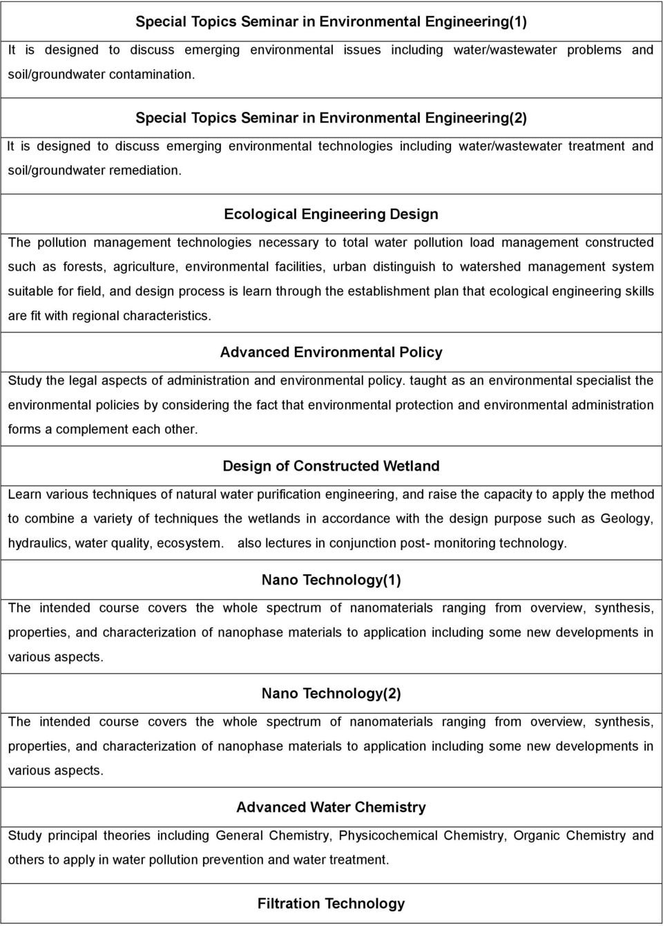 Ecological Engineering Design The pollution management technologies necessary to total water pollution load management constructed such as forests, agriculture, environmental facilities, urban