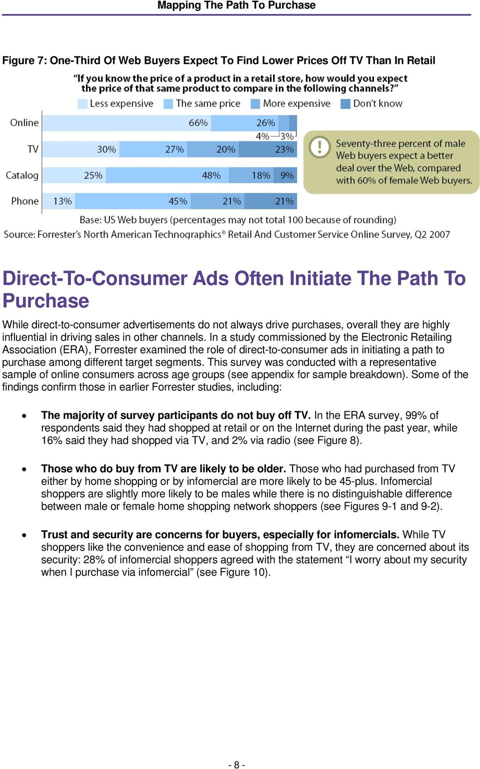 In a study commissioned by the Electronic Retailing Association (ERA), Forrester examined the role of direct-to-consumer ads in initiating a path to purchase among different target segments.
