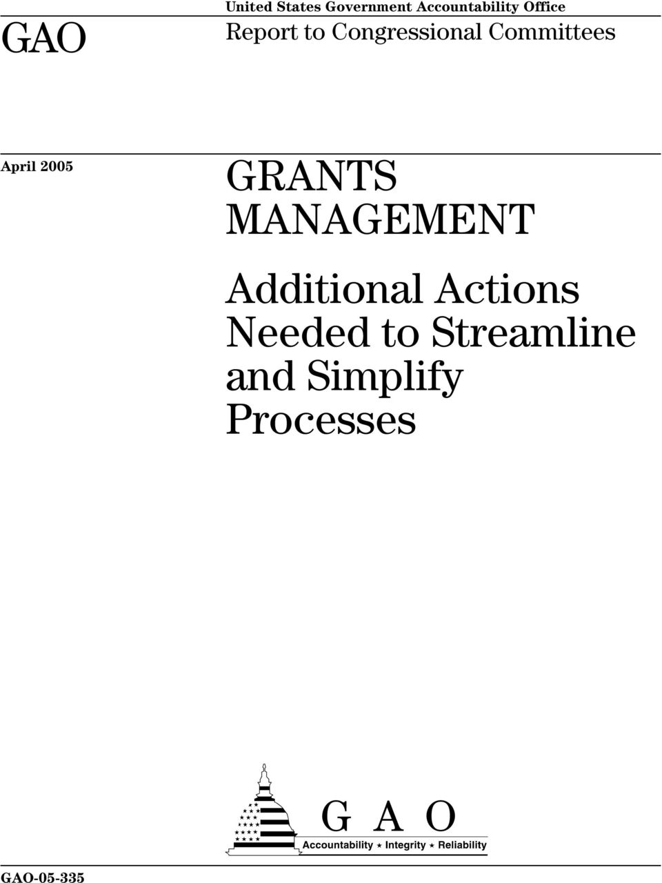 2005 GRANTS MANAGEMENT Additional Actions