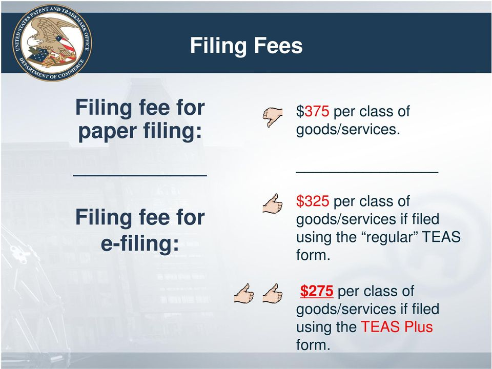 $325 per class of goods/services if filed using the regular