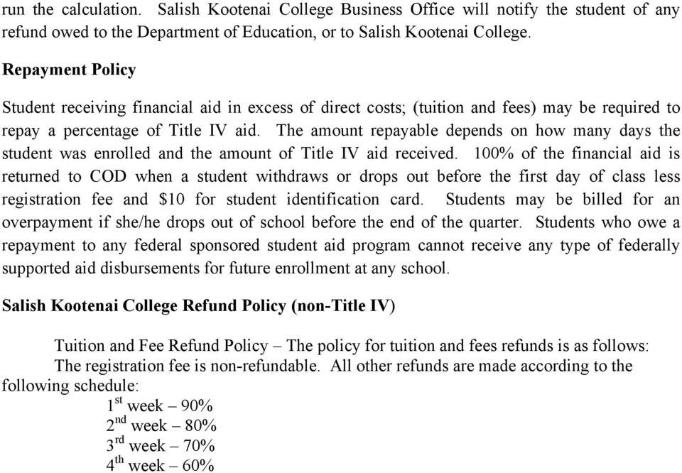 The amount repayable depends on how many days the student was enrolled and the amount of Title IV aid received.