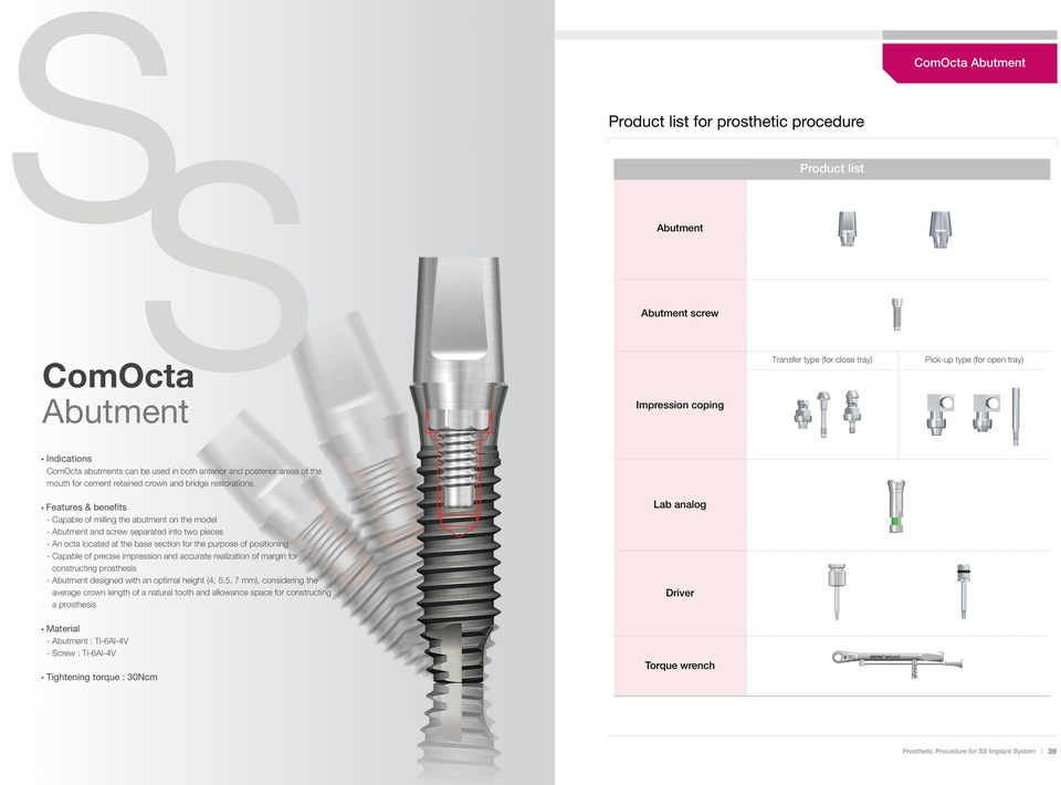 Features & benefits - Capable of milling the abutment on the model - Abutment and screw separated into two pieces - An octa located at the base section for the purpose of positioning - Capable of