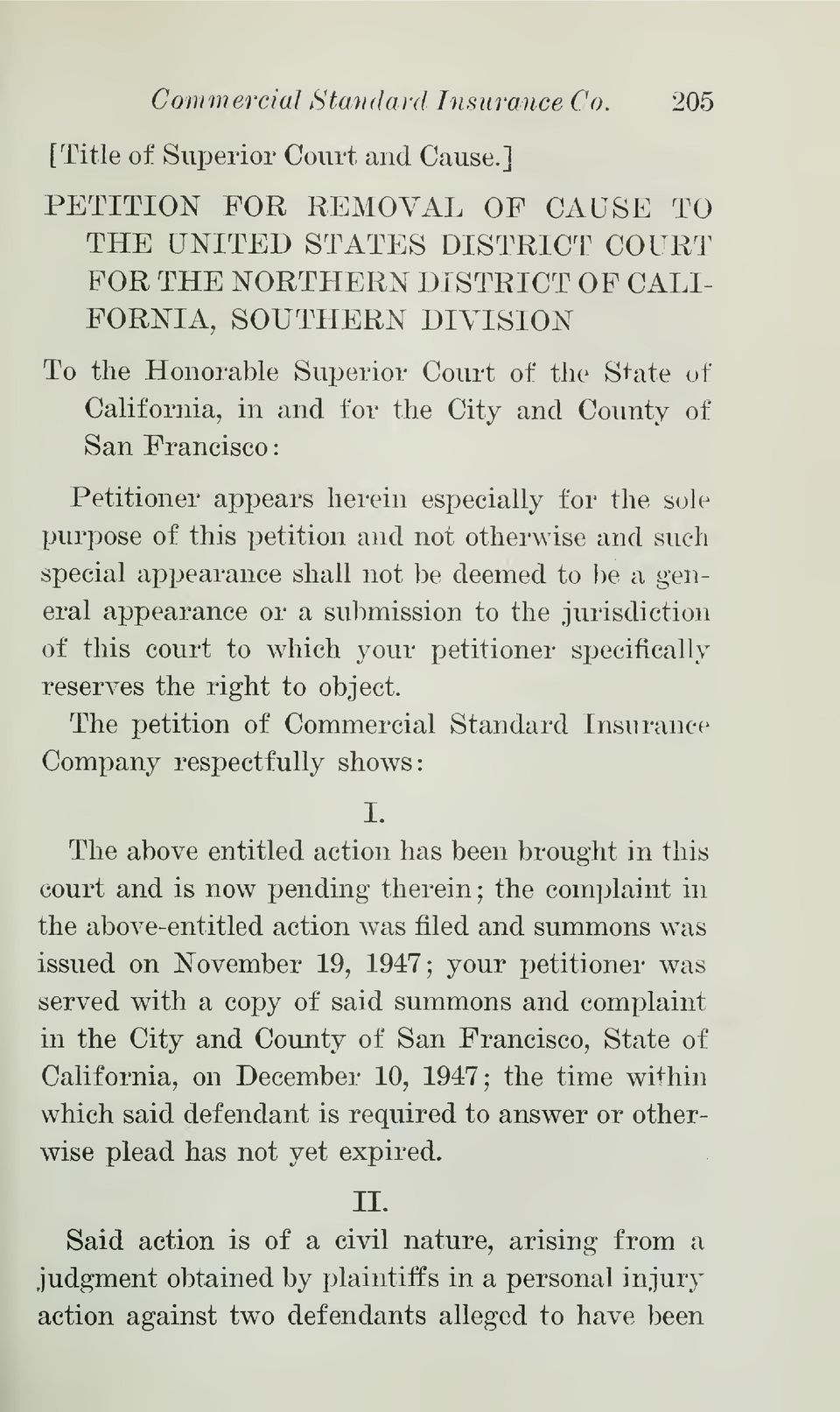 for the City and County of San Francisco Petitioner appears herein especially for the sole purpose of this petition and not otherwise and such special appearance shall not be deemed to be a general