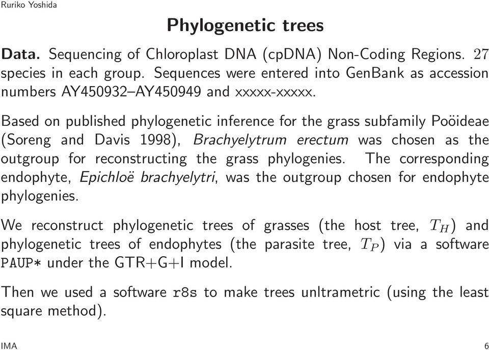 Based on published phylogenetic inference for the grass subfamily Poöideae (Soreng and Davis 1998), Brachyelytrum erectum was chosen as the outgroup for reconstructing the grass phylogenies.