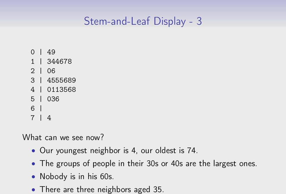 Our youngest neighbor is 4, our oldest is 74.