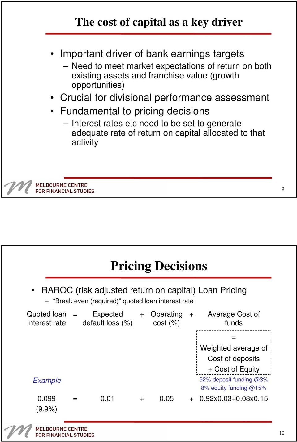 Pricing Decisions RAROC (risk adjusted return on capital) Loan Pricing Break even (required) quoted loan interest rate Quoted loan interest rate = Expected default loss (%) + Operating cost