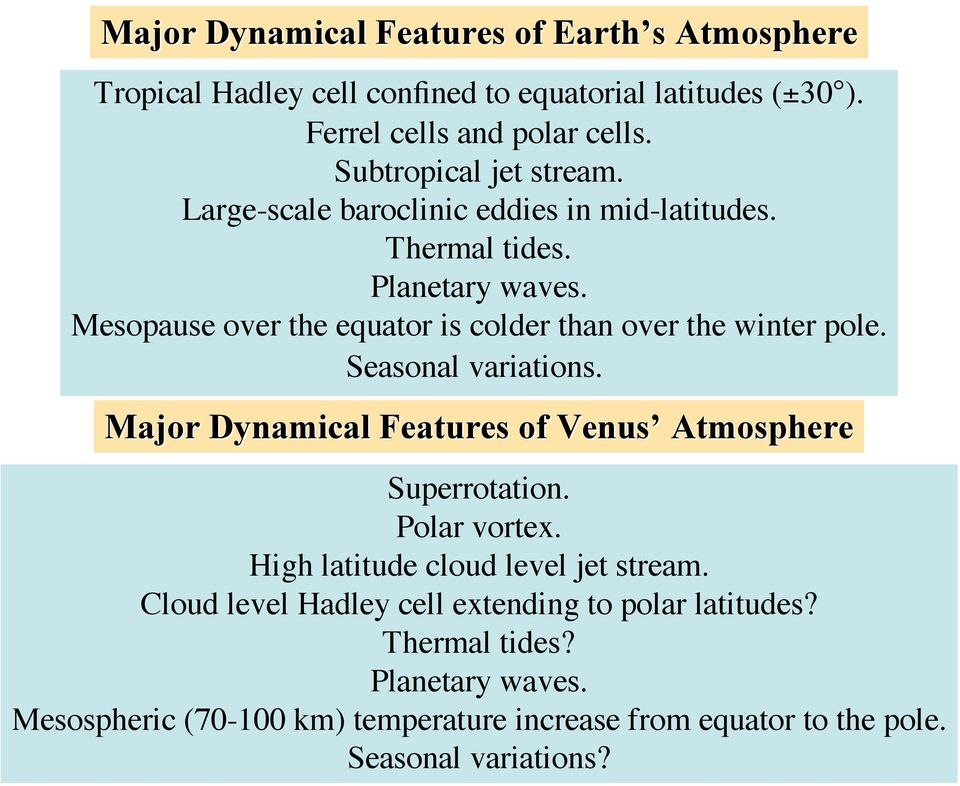 Mesopause over the equator is colder than over the winter pole. Seasonal variations. Major Dynamical Features of Venus Atmosphere Superrotation.